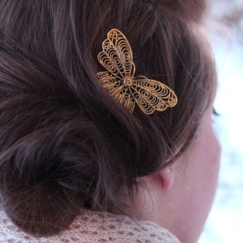 Single Golden Butterfly Bobby Pin - Gold Colored Butterfly - Butterfly Hair Accessories