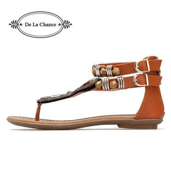 New Women's Gladiator Roman Indian Ethnic Style Leather Flats Sandals Shoes Gladiator