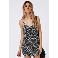 Missguided - Mercuri Button Front Strappy Floral Print Playsuit