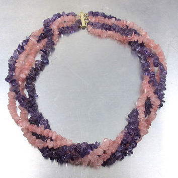 14K Amethyst Rose Quartz Necklace, Multi Strand Nugget Chip Raw Geode Gemstone Chunky Four Strand Torsade, Purple Pink Gemstone Jewelry