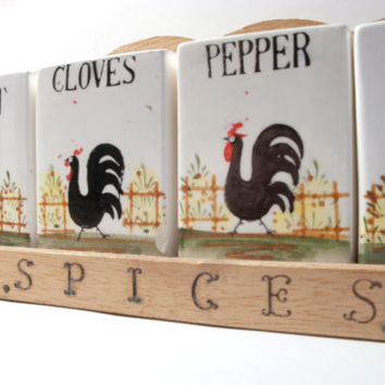 KITSCH RETRO FARM Midcentury Rooster Spice by timepassagesshop