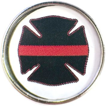 Thin Red Line Firefighter Badge For Firefighters 18MM - 20MM Snap Charm New Item