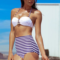 BLUE NAUTICAL HIGH WAISTED BIKINI SET