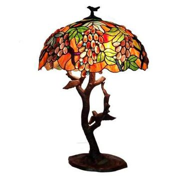 Tiffany-style Grapes/ Birds Mosaic Table Lamp