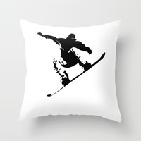 Snowboarding Black on White Abstract Snow Boarder Throw Pillow by podartist
