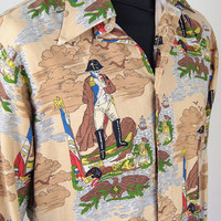 "Vintage Ben Sherman Mens Napoleon Shirt Brown Pirate Print UK British 16"" Collar"