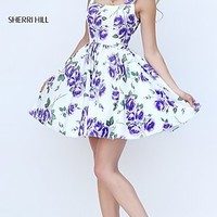 Short A-Line Sleeveless Floral Print Sherri Hill Dress