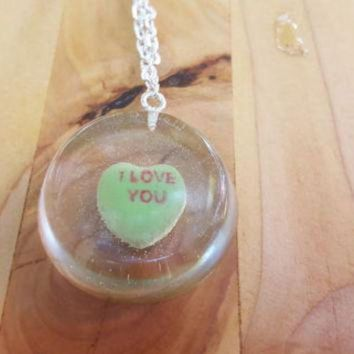 CREYONB Necklace Conversation Heart Pendant Casted Candy in Resin Valentine's Day I Love You G