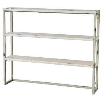 Distressed Metal Shelf With Three Tier, White By Casagear Home