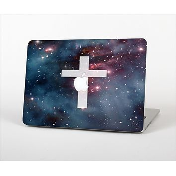 The Vector White Cross v2 over Bright Pink Nebula Space Skin Set for the Apple MacBook Air 11""