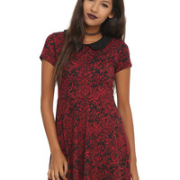 Red & Black Brocade Collar Dress