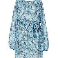 Xtraordinary 7-16 Abstract Chevron-Print Dress - Ivory/Blue