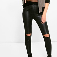Morgan Wet Look Slit Knee Leggings