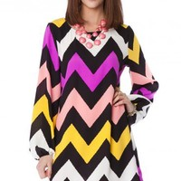Jagged Chevron Dress in Pinky- ShopSosie.com