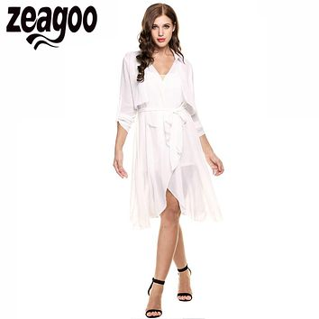 Zeagoo Graceful Coat Summer Women Fashion Long Sleeve Trench Coat Patchwork Chiffon Open Front Tie Waist Casual Long Outerwear