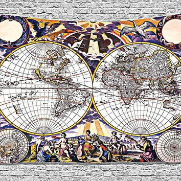 Old World Painting Map Boho Fabric Wall Tapestry