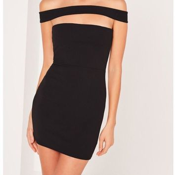 Meet Me At The Bar Off The Shoulder Cut Out panel T back  Bodycon Mini Dress