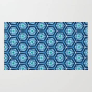 Abstract Hexagon Blue Pattern Rug by Cinema4design | Society6