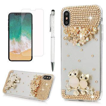 iPhone X Case, Transparent Crystal Clear Handmade 3D Bling Shiny Diamonds Sparkle Hard PC Plastic Shell Full Protective Case Cover for iPhone X with Dust Plug & Stylus by YOKIRIN, Owl