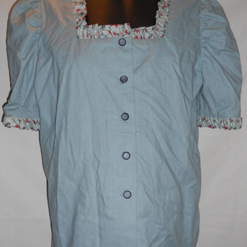 Vintage Handmade Blue Green Button Front Blouse Short Sleeve