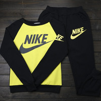 "Women ""NIKE""Print Top Sweater Sweatshirt Pants Sweatpants Set Two-Piece Sportswear"