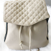 Faux Leather Flap-Top Backpack - Cream