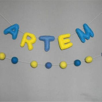 Wool Felt Balls & Letter Garland  Personalized Name Banner