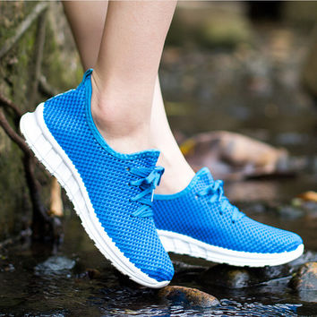Women's Fashion Air Mesh Summer Lace Up Breathable Tennis Shoes