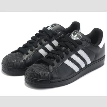 Adidas Fashion Shell-toe Flats Sneakers Sport Shoes Black