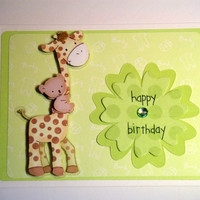Giraffe and Koala Baby 1st Birthday Card Children's Birthday Card Giraffe Card Baby Card