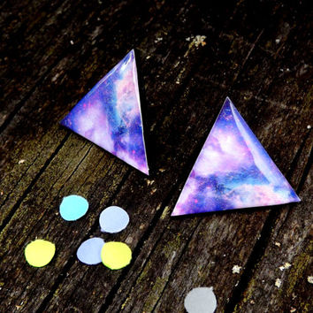 Galaxy Stud Earrings, Cosmic Galaxy earrings stud, Triangle stud earrings, triangle jewelry, Space jewelry, Univers, Free Shipping Worldwide
