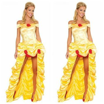 Adult Halloween dresses Snow White COSPLAY Princess Belle Costume Sexy female adult princess belle Cosplay costume