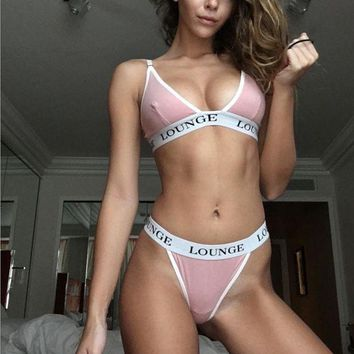 LMFON Letters printed thong underwear sets