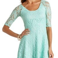 RAGLAN LACE SKATER DRESS
