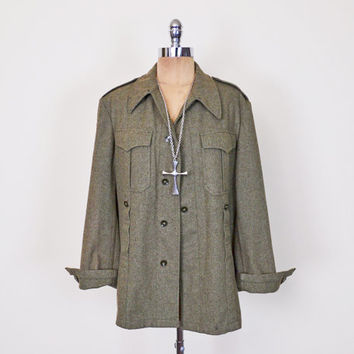 Army Green Wool West German Military Jacket Army Jacket Flag Oversize Shirt Jacket 60s 70s 90s Grunge Jacket Men M Medium Women L Large