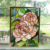 Stain Glass Rose Window Hanging / Flower Wall Art / Stain Glass Art / Stain Glass Panel / Flower Wall Decor /  Pink Lover / Flower Gift