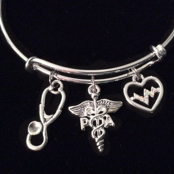 Heartbeat Physicians Assistant PA Expandable Silver Charm Bracelet Bangle Medical Occupational Trendy