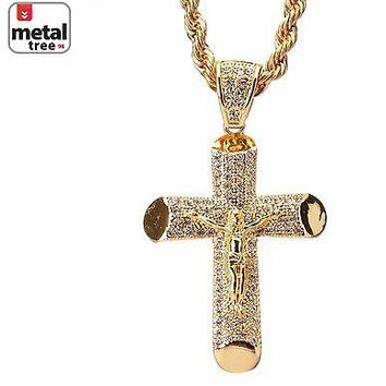 """Jewelry Kay style Men's Fashion 14k Gold Plated Jesus Cross Pendant 30"""" Chain Necklace HC 5013 G"""