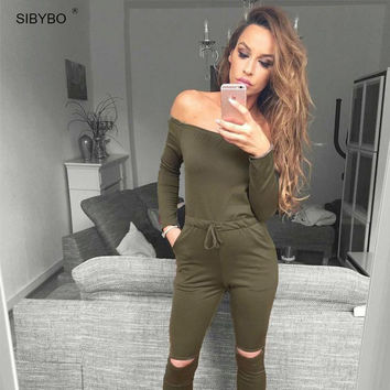 Off Shoulder Long Sleeve Elegant Bodycon Romper