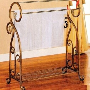 Antique gold finish metal towel / quilt rack with curled end designs