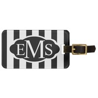 Black striped 3IC Label Monogrammed Luggage Tag