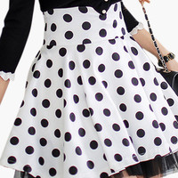 White and Black Polka Dot Skater Mini Skirt