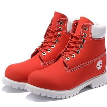 Timberland 10061 Anti-fatigue outdoor classic high boots shoes red and white