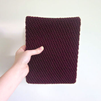 Crochet iPad Side Opening Case in Wine The Commuter by SalemStyle