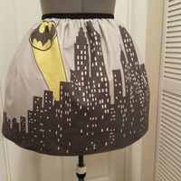 Batman inspired skirt  city skyline and bat by NerdAlertCreations