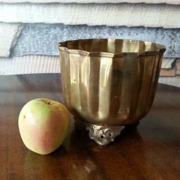 Large Brass Footed Bowl, Planter, Vintage Metal Canister, FREE US Shipping