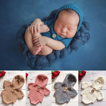 Puseky Newborn Baby Crochet Romper Knit Costume Prop Photo Photography Baby Hat Photo Props Newborn Baby Girls Hooded Outfit