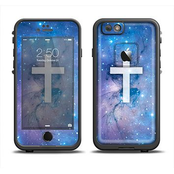 The Vector White Cross v2 over Purple Nebula Apple iPhone 6 LifeProof Fre Case Skin Set