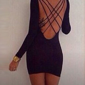 Black Long Sleeve Bandage Mini Dress