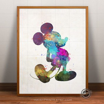 Mickey Mouse Print Watercolor, Minnie Mouse Poster, Disney Art, Illustration, Watercolour, Giclee Wall, Kid Artwork, Comic, Fine, Home Decor